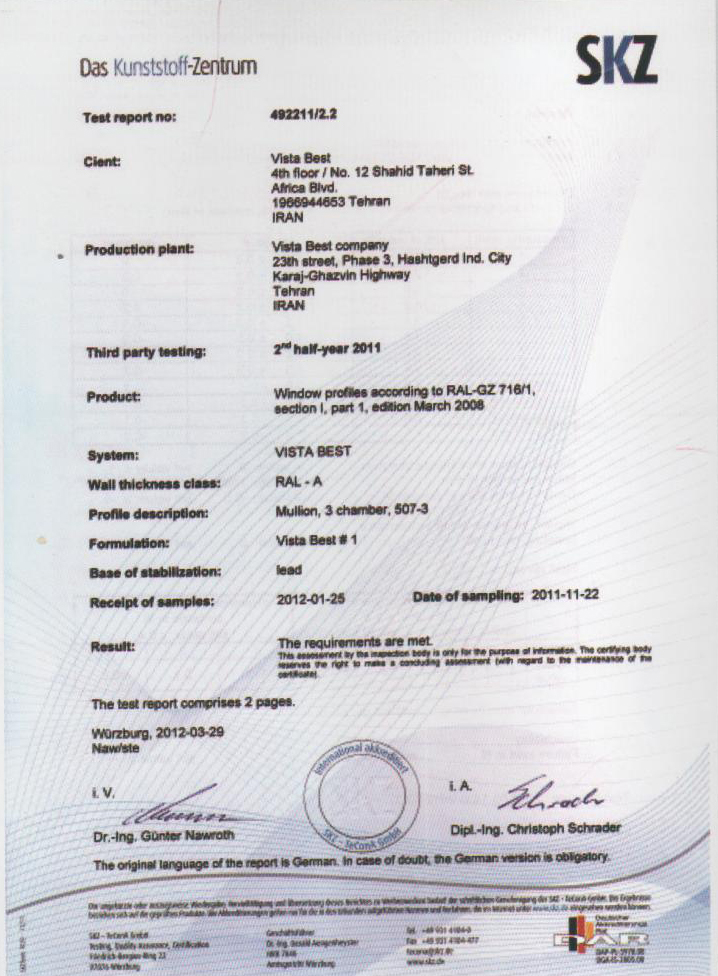 Quality approval certificate SKZ Germany